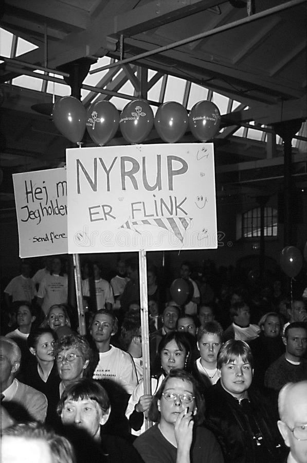 POUL NYRUP RASMUSSEN_ELECTION DBETAE DUEL. Copenhagen/Denmark/ _1the March 1998- Prime minister Poul Nyrup Rasmussen election duel debate with Uffe Ellemann royalty free stock photography