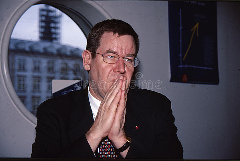 POUL NYRUP RASMUSSEN_PRIME MINISTER. Copenhagen/Denmark/ _ 25the February 1998_ File images Poul Nyrup Rasmussen danish prime minister holds press conference at royalty free stock photography