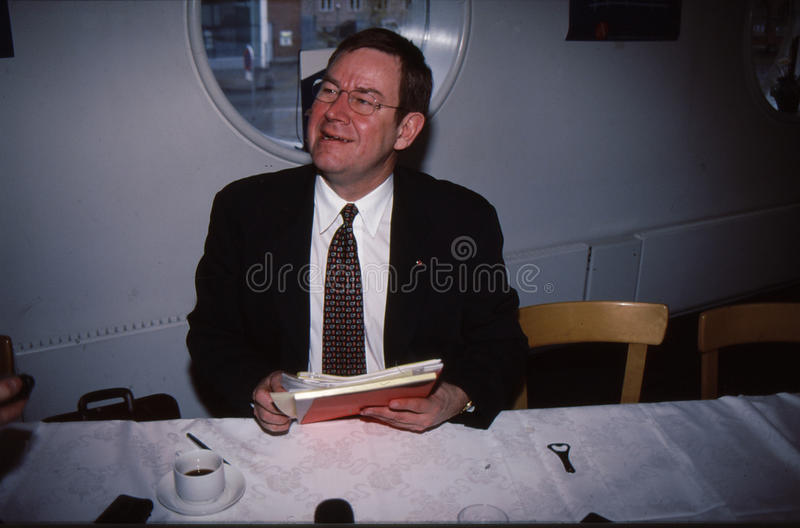 POUL NYRUP RASMUSSEN_PRIME MINISTER. Copenhagen/Denmark/ _ 25the February 1998_ File images Poul Nyrup Rasmussen danish prime minister holds press conference at stock photo
