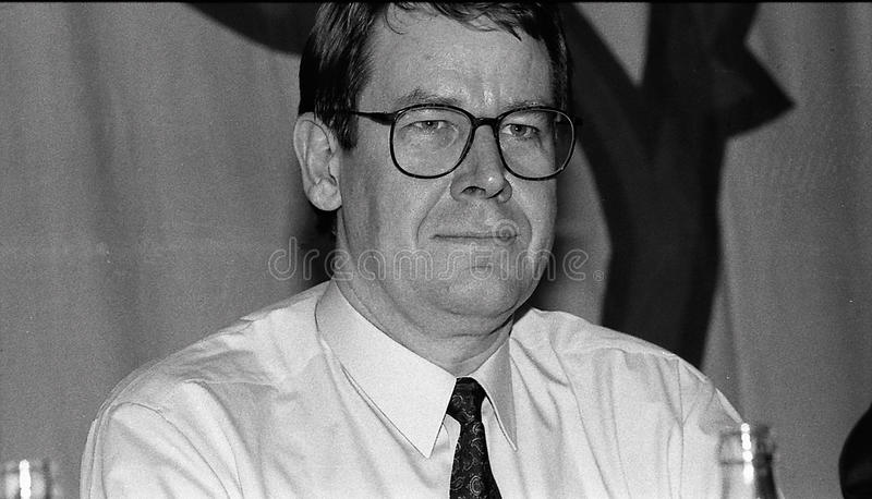 POUL NYRUP RASMUSSEN. VEJLE / DENMARK/ 11 April 1992_ (Danish historical images of social democrat party leadership conest )Scoail democrat party leader Svend stock photography