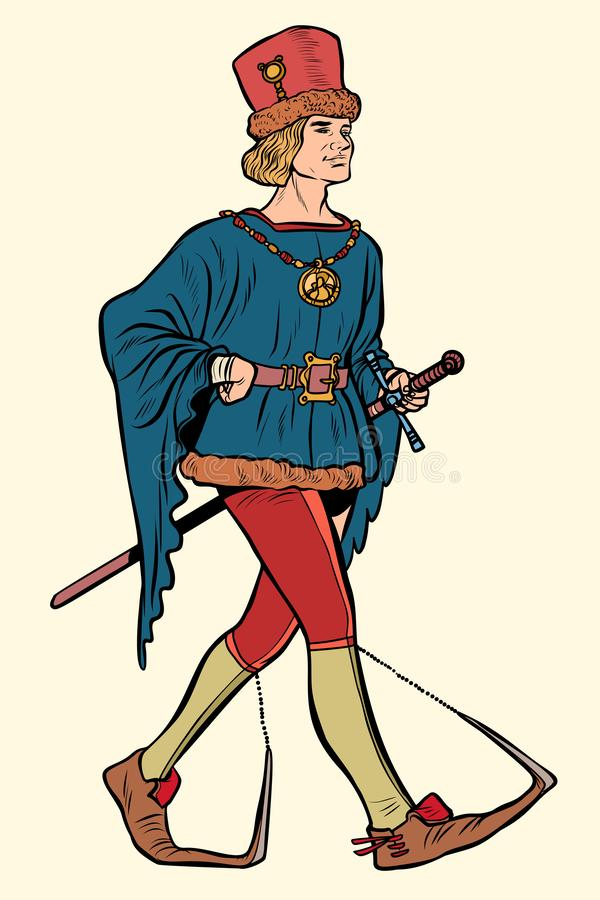 Poulaines worn, medieval man 15th century vector illustration