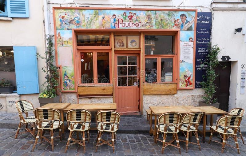 传统法国咖啡馆Poulbot,巴黎,法国 库存照片