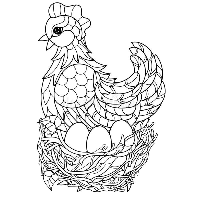 poule Animal de ferme décoratif tiré par la main illustration de vecteur