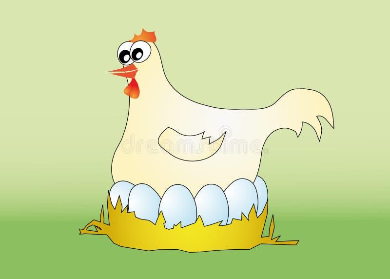 Poule avec des oeufs illustration libre de droits