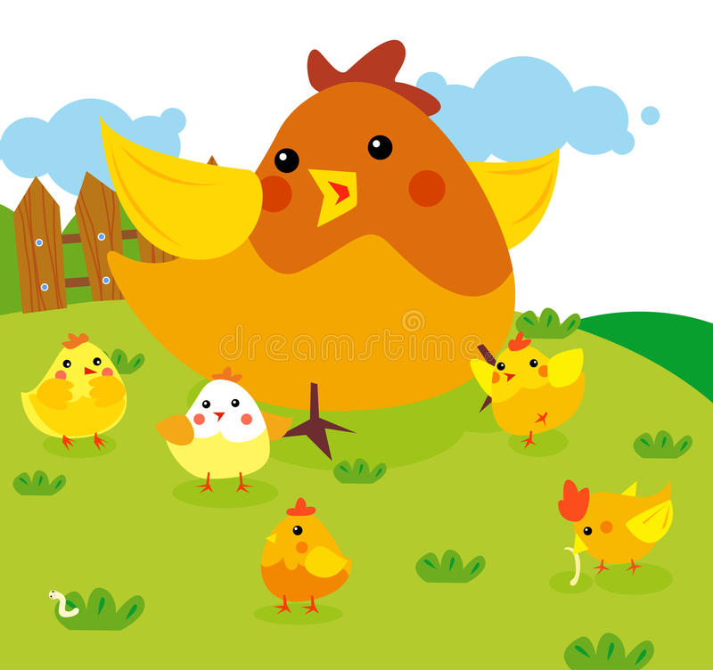 Poule avec le poulet illustration stock
