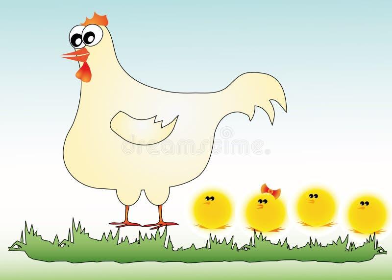 Poule avec le poulet illustration de vecteur