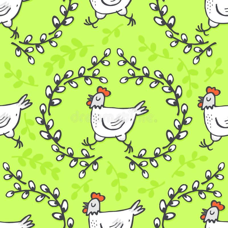 Poule blanche dans le modèle de Pâques de vacances de ressort de guirlande de saule sur le vert illustration libre de droits