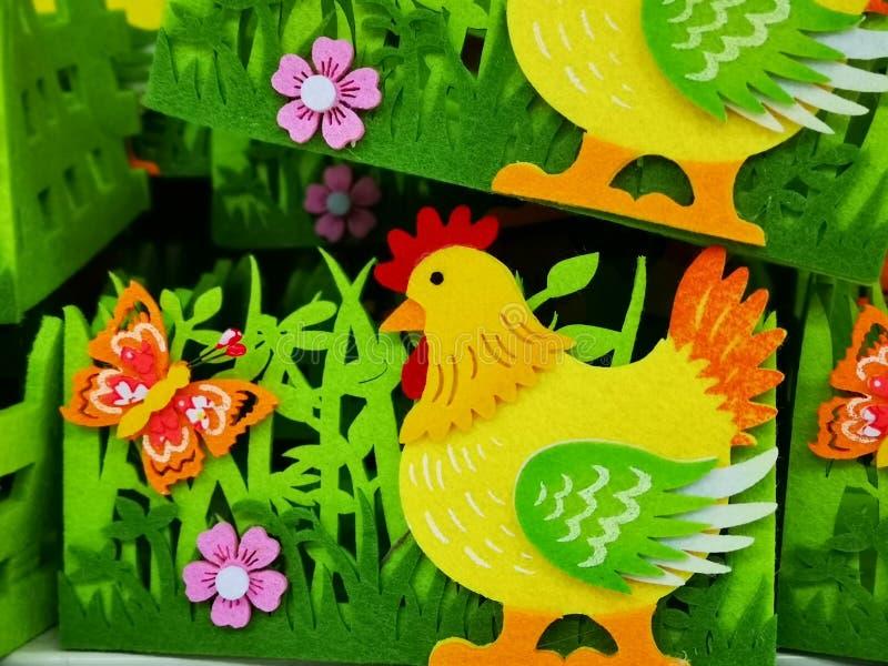 Poule décorative colorée du feutre photo libre de droits