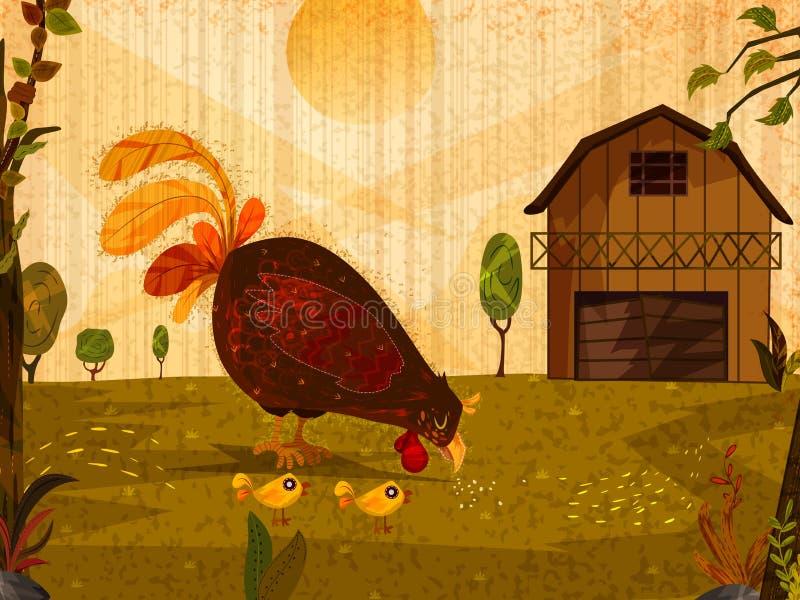 Poule d'animal de compagnie avec des poussins sur le fond de nature illustration libre de droits