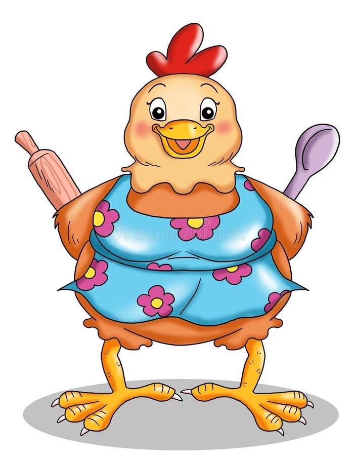 Poule dans la cuisine illustration de vecteur