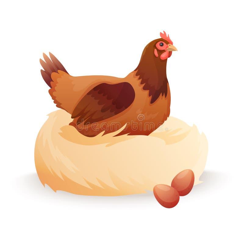 Poule dans le nid se reposant sur des oeufs illustration libre de droits