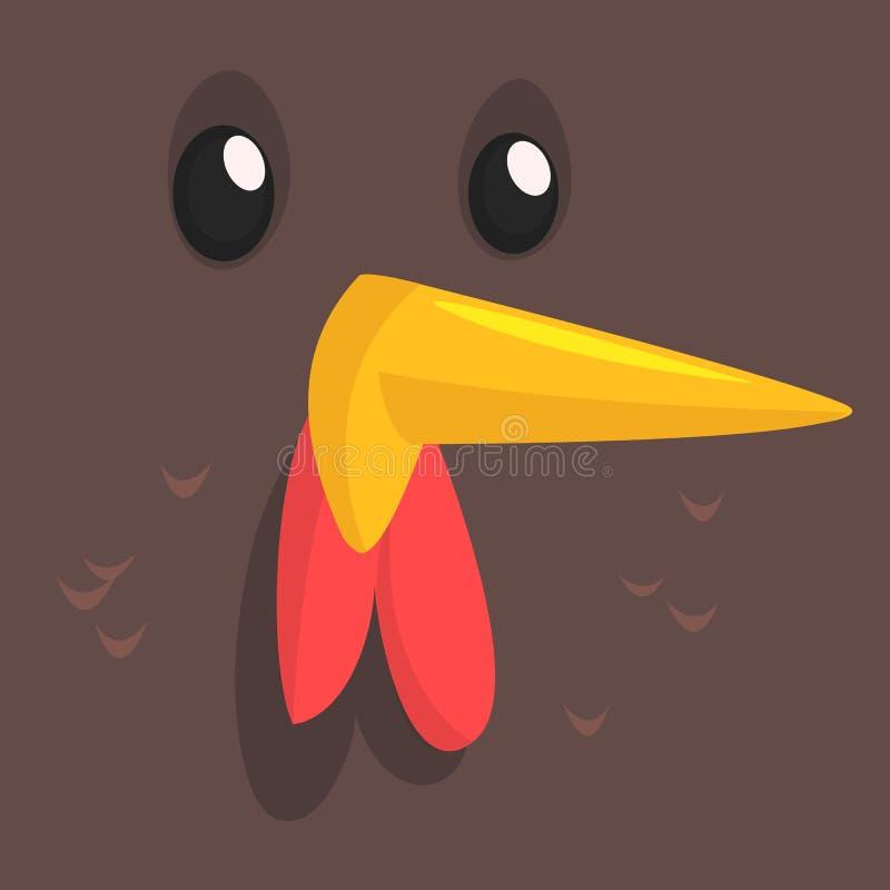 Poule de bande dessinée d'isolement Dirigez l'illustration d'un avatar brun de visage de poulet illustration libre de droits