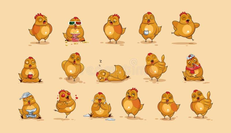 Poule de bande dessinée de caractère d'Emoji illustration stock