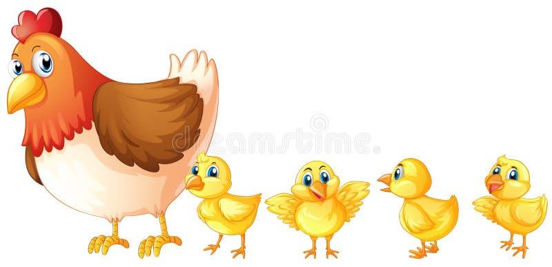 Poule de mère et quatre poussins illustration de vecteur