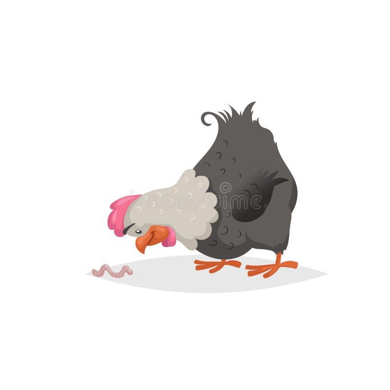 Poule de noir de bande dessinée regardant sur le ver de terre Scène d'animaux de ferme Conception plate comique à la mode Idéal p illustration stock