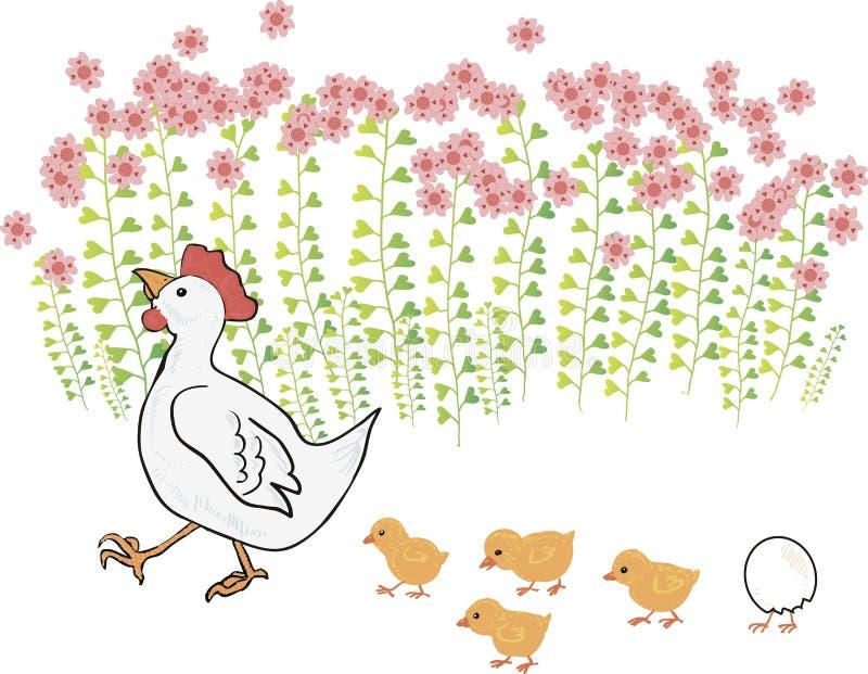 Poule de ?ute avec des nanas pr?s des fleurs illustration libre de droits