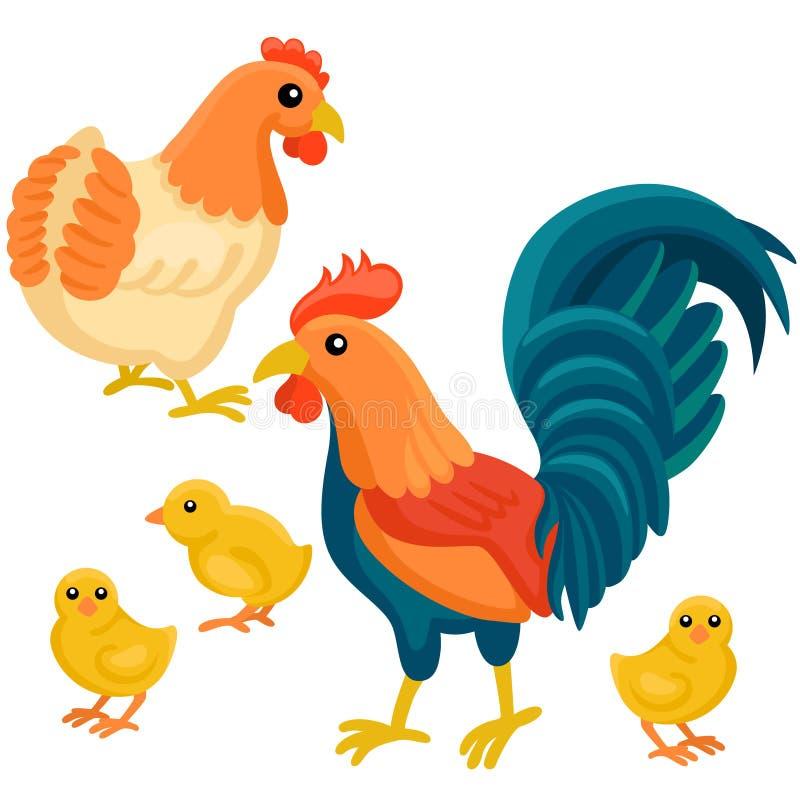 Poule et coq adultes avec des poulets d'arbre sur le fond blanc illustration de vecteur