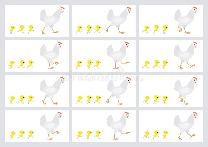 Poule et feuille blanches de marche de lutin d'animation de poussins d'isolement sur le fond blanc illustration libre de droits