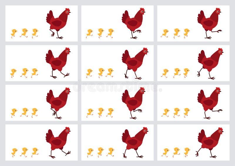 Poule et feuille rouges de marche de lutin d'animation de poussins d'isolement sur le fond blanc illustration libre de droits