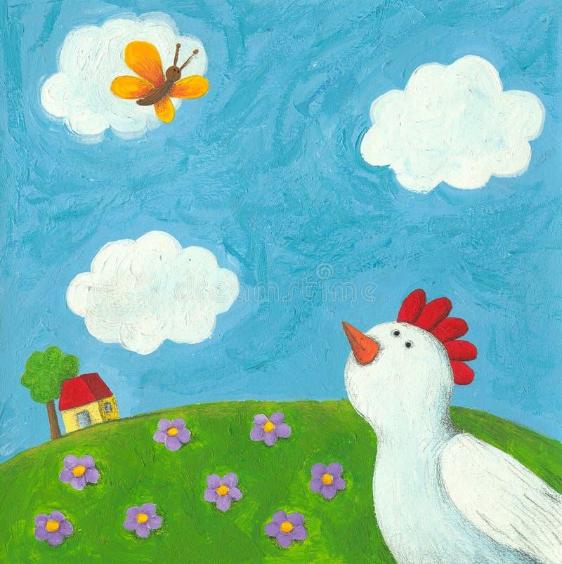 Poule et guindineau drôles illustration libre de droits