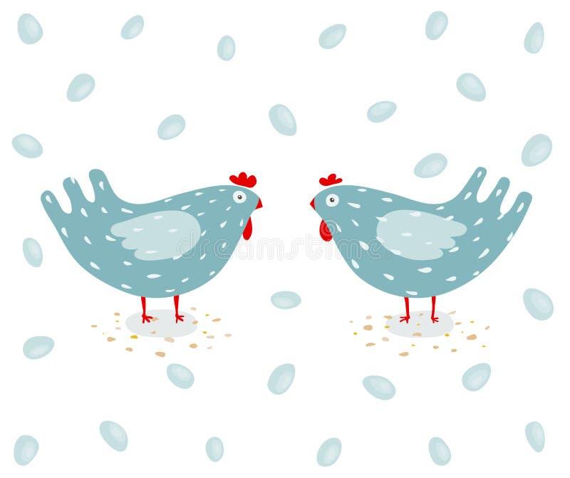 Poule et oeufs drôles illustration de vecteur