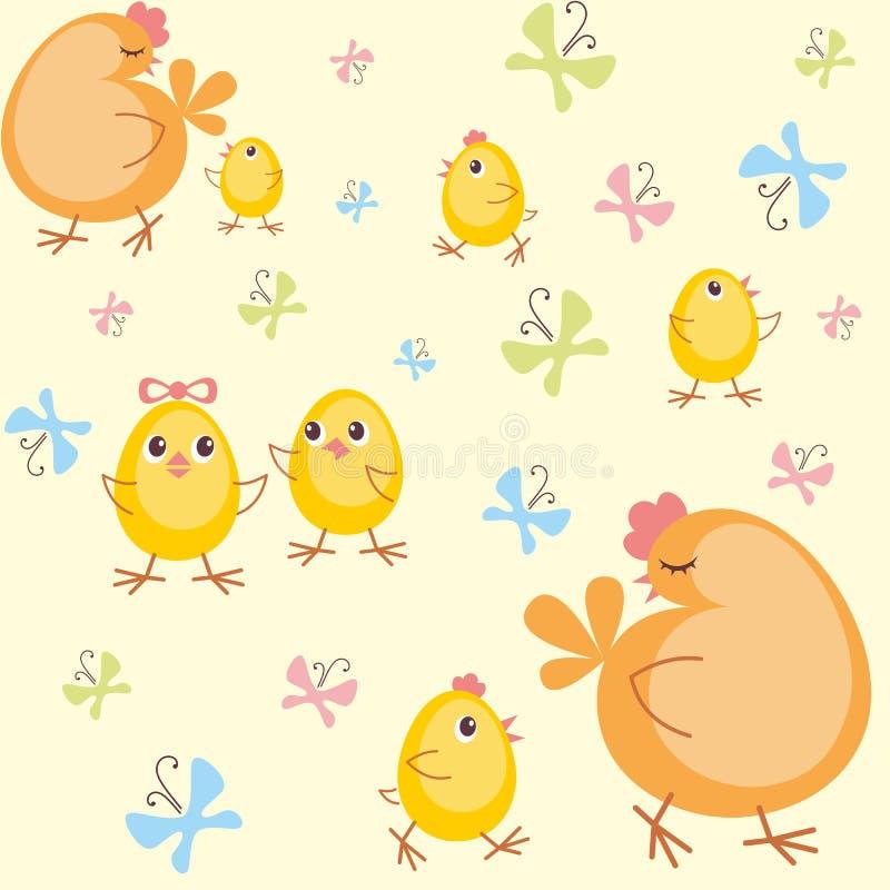 Poule et petits poulets illustration libre de droits