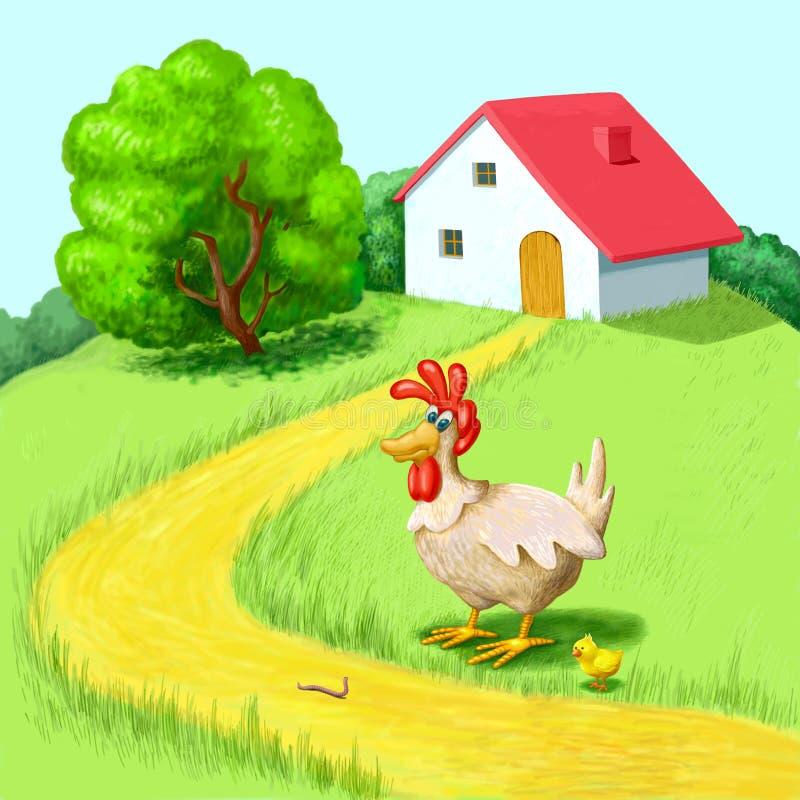 Poule et poulet illustration de vecteur