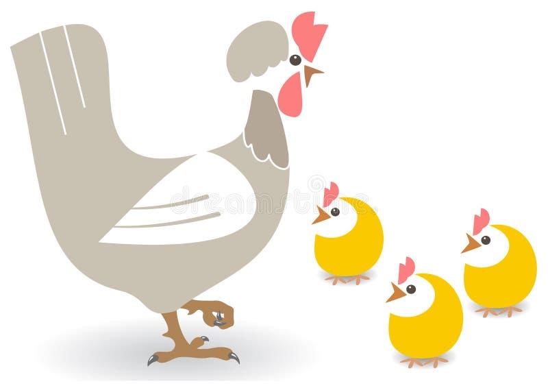 Poule et poulets illustration stock