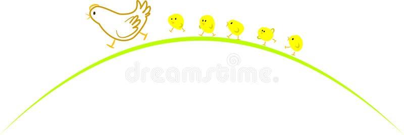 Poule et poulets illustration libre de droits