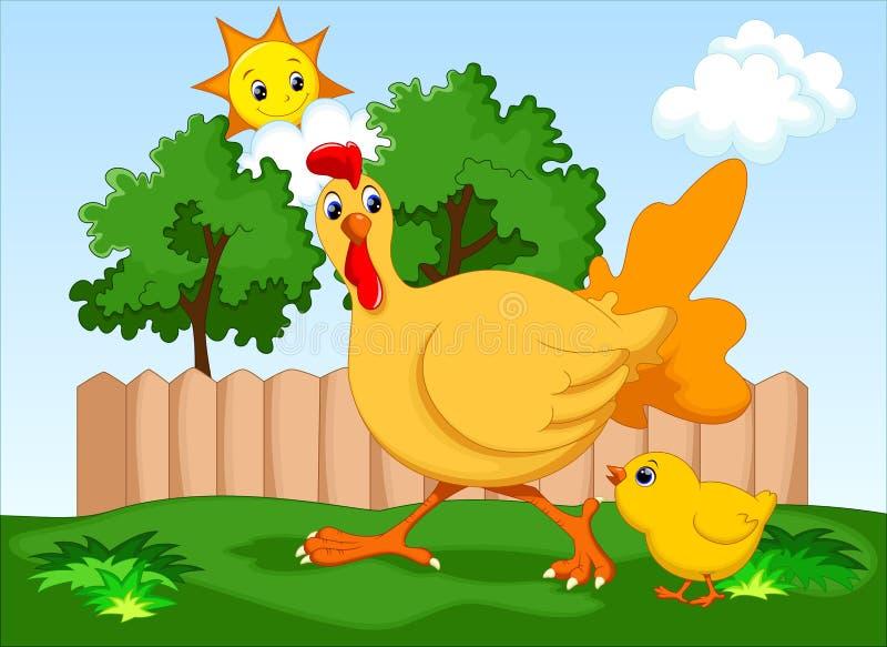 Poule et son fils illustration stock