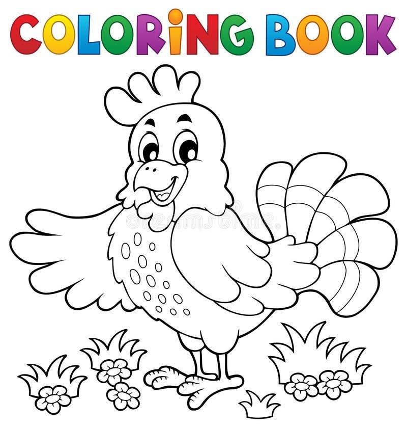 Poule heureuse de livre de coloriage illustration libre de droits