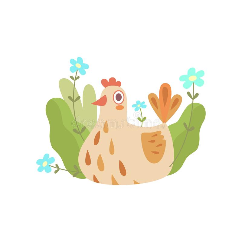 Poule mignonne d'emboîtement, symbole d'illustration de vecteur de ressort illustration de vecteur