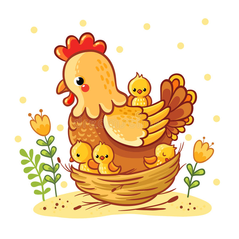 Poule mignonne de bande dessinée avec des poulets se reposant dans un panier illustration de vecteur
