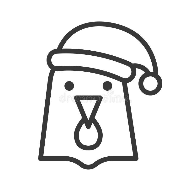 Poule portant la course editable d'icône d'ensemble de chapeau de Santa illustration libre de droits