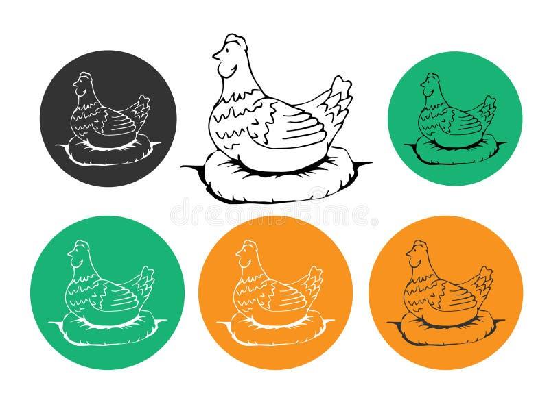 Poule, poulet Logo de vintage, rétro copie, affiche pour la boucherie de boucherie, silhouette de poule Calibre de logo pour des  illustration de vecteur