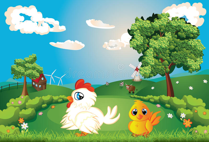 Poule sur la pelouse illustration stock