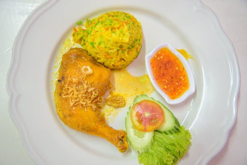 Poulet Biryani avec la recette verte Khoa Mok Kai de sauce photo libre de droits
