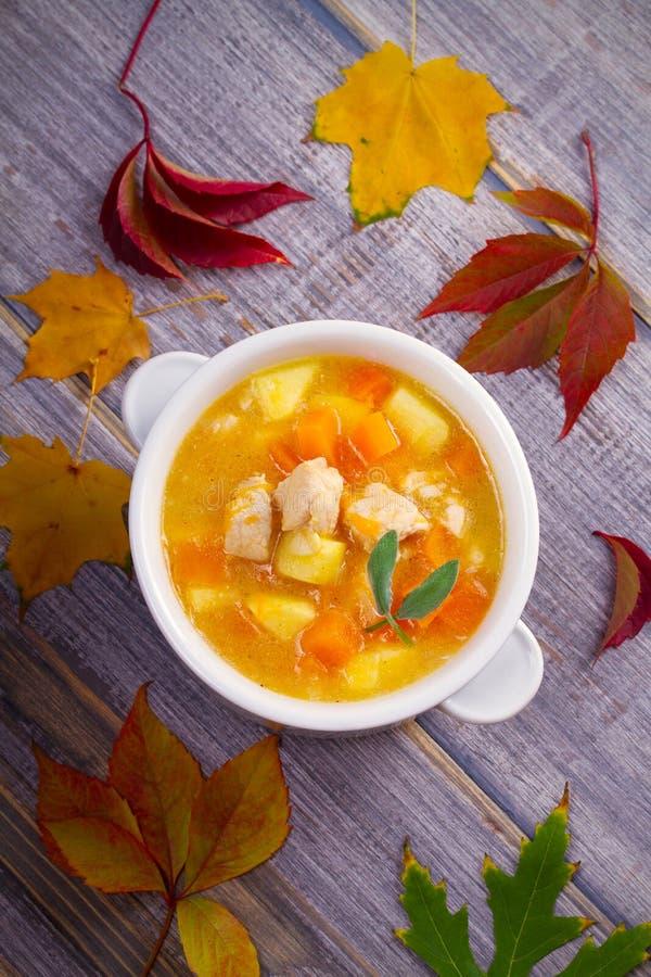 Poulet, courge de butternut, pomme, gingembre et ragoût sage dans la cuvette blanche sur la table en bois Soupe à potiron avec le image libre de droits