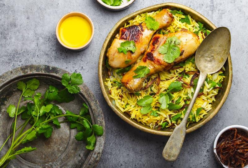 Poulet de Biryani avec le riz basmati image stock