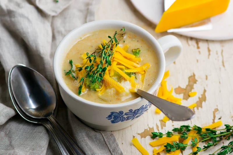 Poulet de cheddar de brocoli et soupe à boulette photo libre de droits