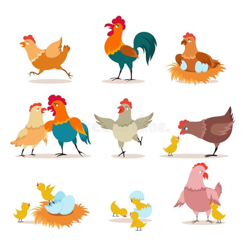 Poulet de dessin animé Poussin avec les oeufs, la poule et le coq Poulet de Noël heureux, oiseaux domestiques et vecteur d'animau illustration stock
