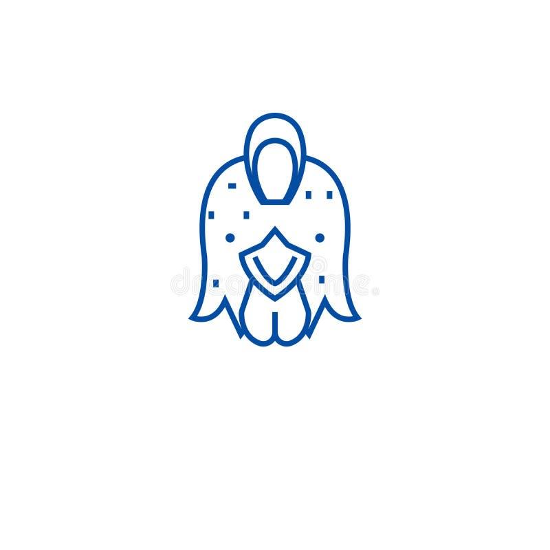 Poulet de ferme, ligne concept de poule d'icône Poulet de ferme, symbole plat de vecteur de poule, signe, illustration d'ensemble illustration libre de droits