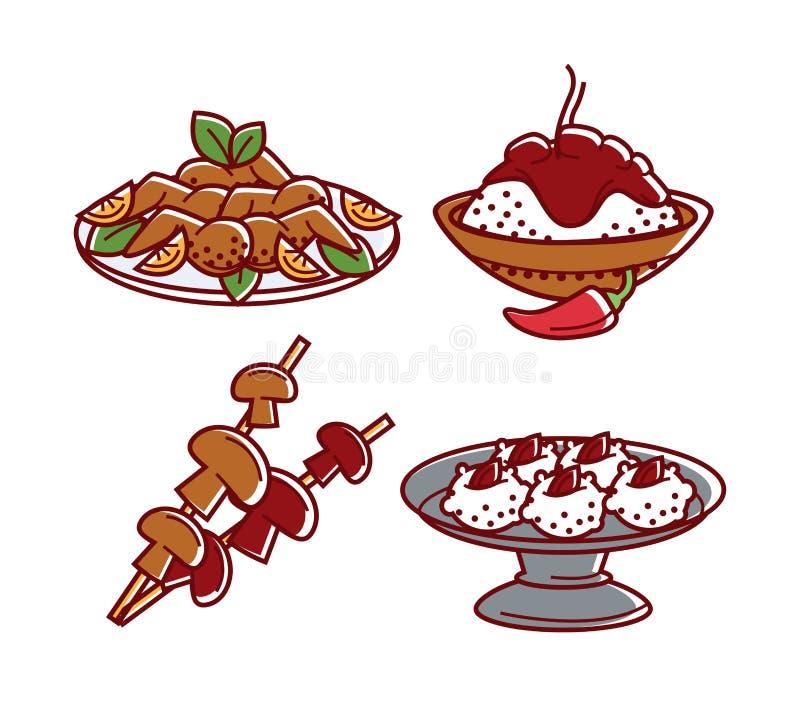 Poulet de plats et champignons et dessert d'isolement par nourriture indienne de riz illustration de vecteur
