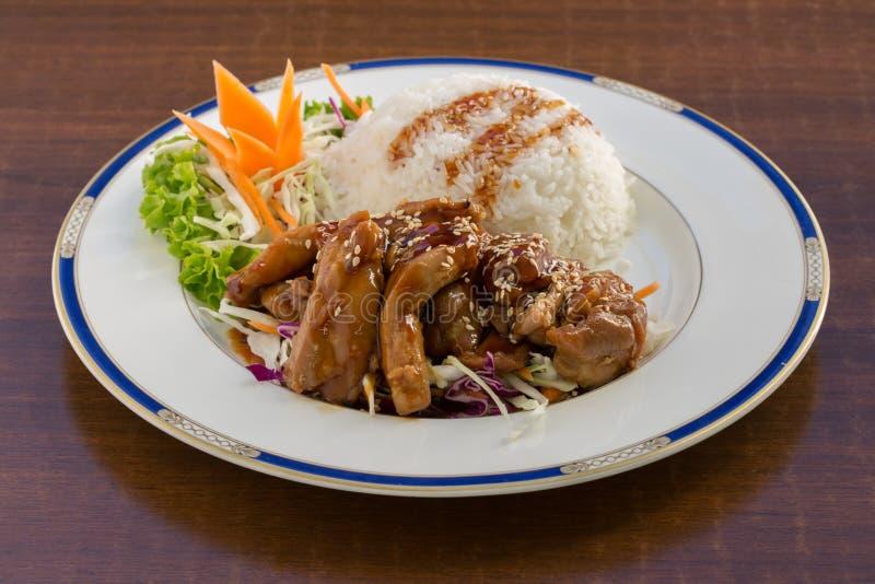 Poulet de Teriyaki sur le riz images libres de droits