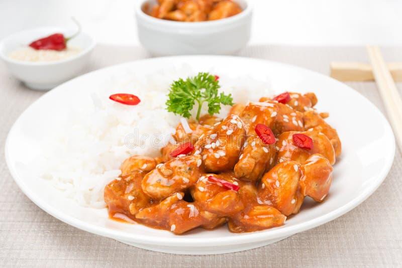 Poulet en sauce tomate avec les graines de sésame et le riz, plan rapproché photographie stock libre de droits