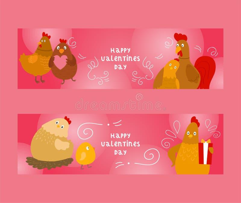 Poulet et coq avec l'ensemble de poussins d'illustration de vecteur de bannières Salutation heureuse de jour de valentines Donner illustration de vecteur