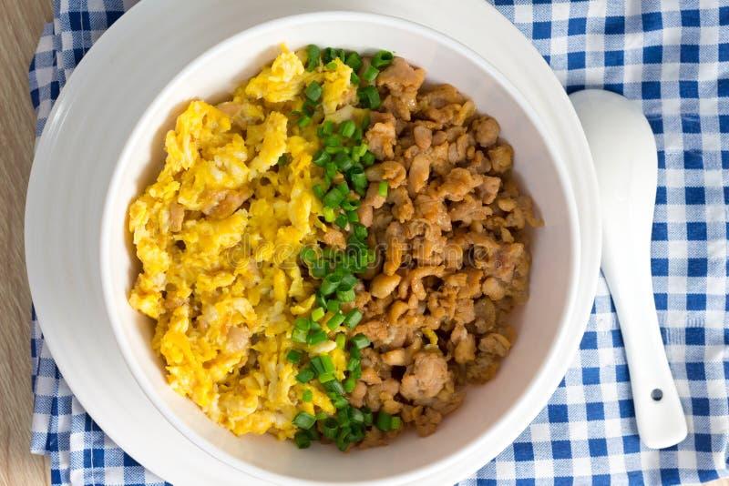 Poulet et oeuf avec de la sauce au-dessus du riz image libre de droits
