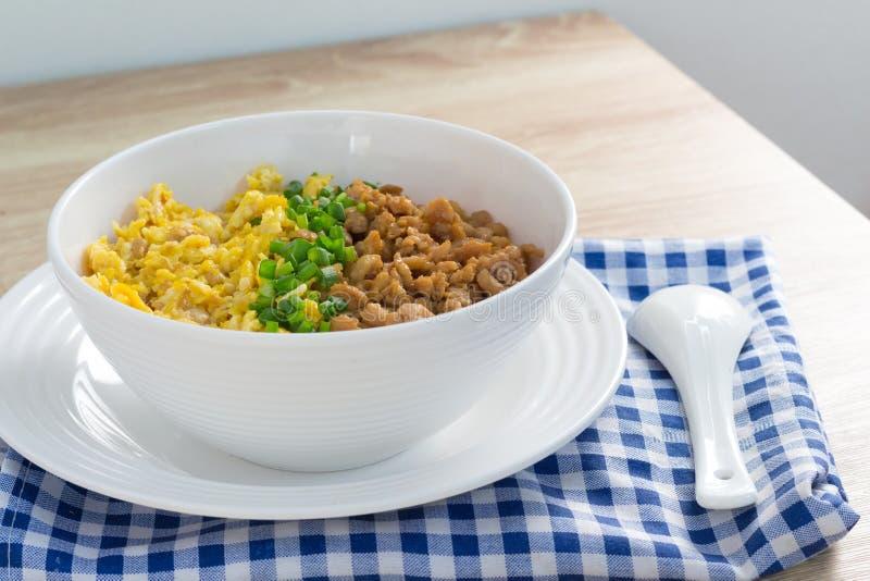 Poulet et oeuf avec de la sauce au-dessus du riz photos stock