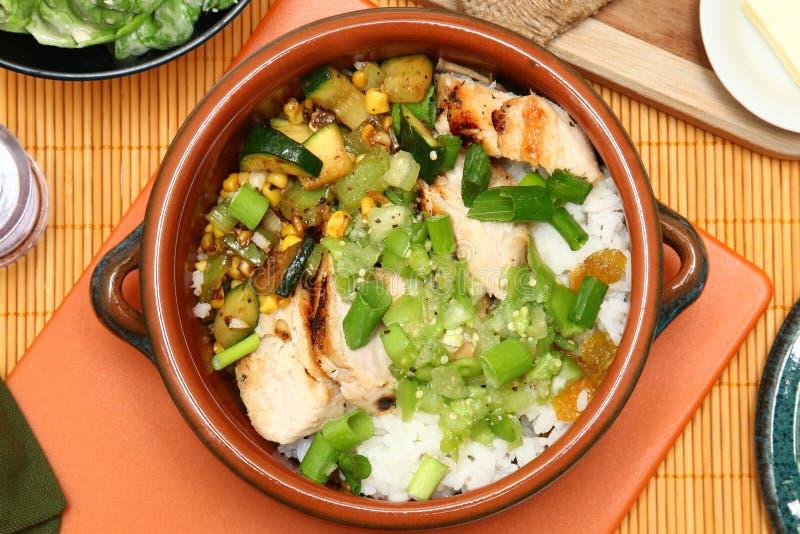 Poulet et Salsa desséchés de Tomatillo photo stock