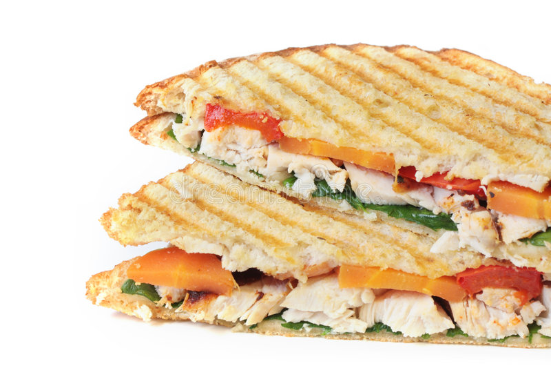 Poulet et sandwich végétarien image libre de droits